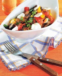 Restovaná zelenina se žampiony a mozzarellou