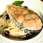 <b>Houbové rizoto s vařeným lososem</b>